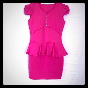 Custom pink peplum dress- rhinestone/pearl accent